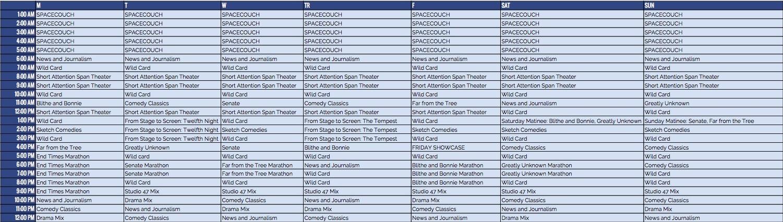 CCTV Weekly Schedule